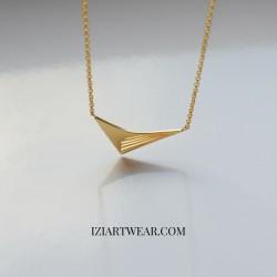 Bumerang naszyjnik z zawieszką pozłacany