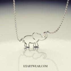Naszyjnik z zawieszką słonik posrebrzany