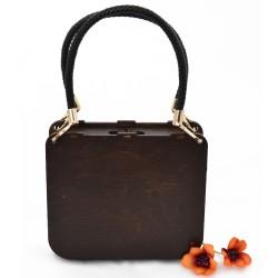 Handbag with amber leaf - torebka z drewna z bursztynem