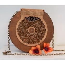 Drewnina okrągła torebka artystyczna karmelowa